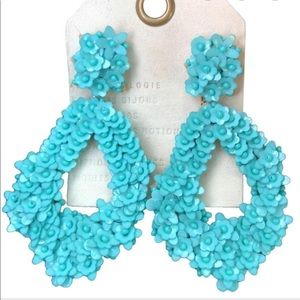 Anthropologie Teal Beaded Earrings